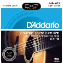 EXP11 Coated 80/20 Bronze Acoustic Guitar Strings, Light, 12-53