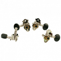 Grover Sta-Tite #9 Series Geared Ukulele Pegs Nickel with Black buttons