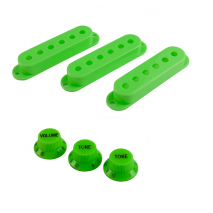 WDMusic strat 3x knobs, 1x switch knob and 3x pickup covers set Green